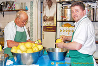 Fresh lemons being peeled for the production of Limonoro limoncello