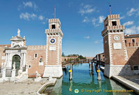 The 16th century towers guarding the entrance to the Arsenale