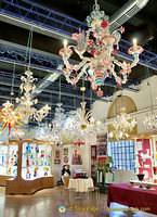 Murano glass chandeliers in the Arti Veneziane showroom
