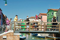 Enjoying the sights of Burano from the bridge