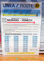 Vaporetto Line 12 timetable from Murano to Venezia