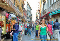 Lista di Spagna is full of shops and cafes