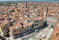Aerial view of Piazza Erbe and Verona city