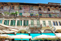 Frescoed walls of Mazzanti houses on Piazza Erbe