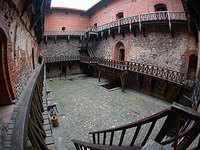 Fish-eye view of Trakai Castle inner yard