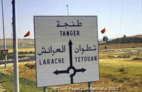 Road sign for Tangier, Larache and Tetouan