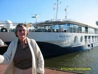 Barbara in front of Avalon MS Poetry
