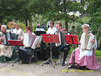 Musicians in traditional gear at Zaanse Schans