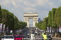 Arc de Triomphe - Built by Napoleon to commemorate his various military victories - dominates the Champs-Elysees