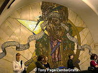 Large mosaics like this decorate the walls symbolising aspects of Russian life