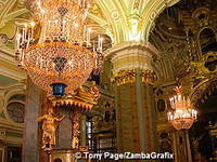 Peter and Paul Cathedral with pink and green Corinthian columns and chandeliers