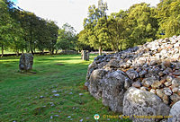 Standing stones circle the Clava Cairn
