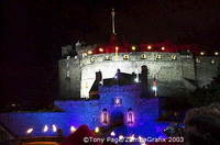 Throughout the evening the castle is lit in different colours.  Look out for the Lone Piper