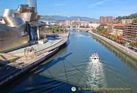 The Guggenheim Bilbao sits on the Nervión River