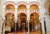 The famous horseshoe arches of the Mezquita