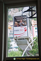 Riding the cable car in Gibraltar
