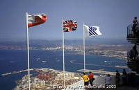 Flags of Gibraltar and Britain