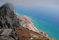 View down to the foot of the Rock of Gibraltar