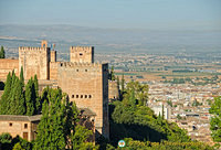 Generalife: View of the Alhambra towers