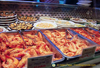 A seafood stall at the Mercado San Miguel. You can get seafood raciones here.