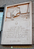 Plaque commemorating the building of the Almudena Cathedral