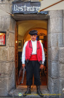 A welcoming doorman at this restaurant
