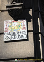 Colourful tile street name for Carrera de San Jeronimo