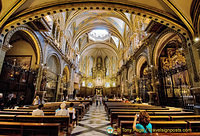 The stunning interior of the Montserrat Basilica