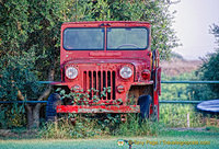 A red Jeep