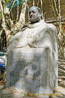 This statue of Ernest Hemingway was a 1968 tribute by the Pamplona city Council