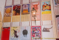 Posters of bullfight schedules for various years