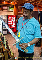 Mahlon checking out the Excalibur sword at the Suarez shop