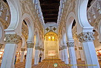 Octagonal pillars support the beautiful horse-shoe arches inside the Santa Maria la Blanca