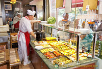 The food counter at the Lale Restaurant