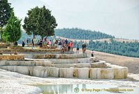 Pamukkale's terraces are made of travertine