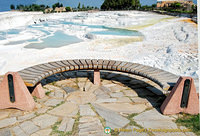 Travertine is a form of limestone that's deposited by hot springs