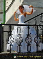 A beautiful bride at the Monastery of the Caves