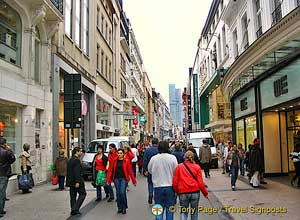 A busy Brussels shopping street