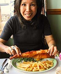 Helen enjoys fish and chips in Whitby, UK