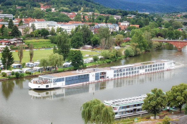 A European River Boat cruises the Main River at Miltenberg