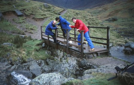 Slow progress over bridge in Lake District