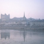 Saumur on the Loire River, France .