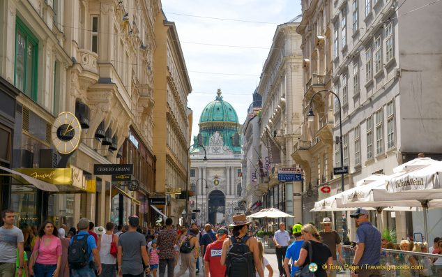 A glimpse of the Hofburg's green dome from the Kohlmarkt
