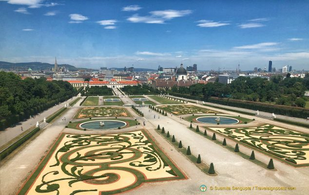 The landscaped Baroque gardens at the Belvedere Palace with the Lower Belvedere in the distant background