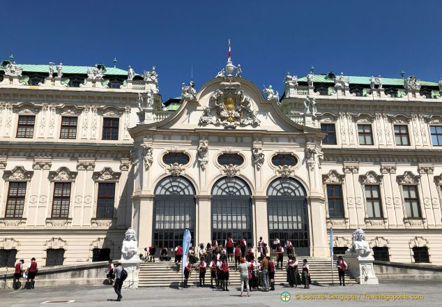 The ornate facade of the Upper Belvedere Palace.