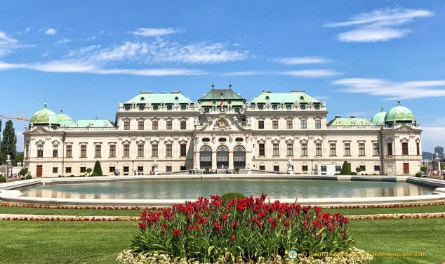 The Belvedere Palace (Upper) across the reflecting pond.