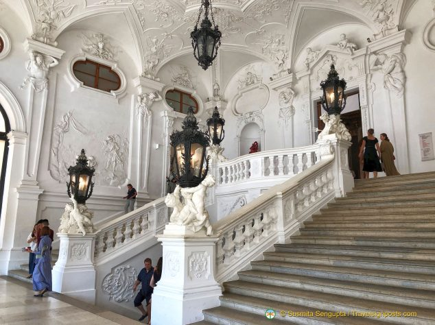The Grand Staircase at the Belvedere Palace.