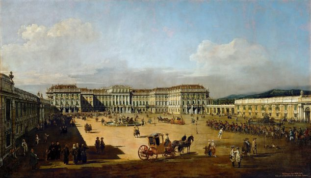 The imperial pleasure palace Schönbrunn, courtyard side,  by Bernardo Bellotto, 1759-1760