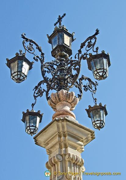 Beautiful Vintage Street Lights, Blue Sky Clouds Stock ...
