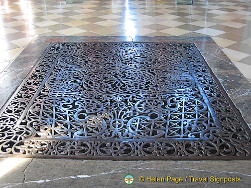 Grate in floor allows heating from kitchen to heat this room[Marble Hall - Melk Benedictine Abbey - Melk - Austria]